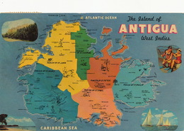 Antigua West Indies Map P. Used 2 Stamps From Antigua ST Johns 1964 - Antigua & Barbuda