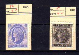 1872   Prince Edouard, Reine Victoria, 12 Et 15 Sg, Cote 34 €,  No Glue  Without Gom - Prince Edward (Island)