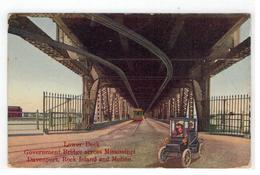 MOLINE  : Lower Deck Government Bridge Across Mississippi Davenport,Rock Island And Moline  1912 - Etats-Unis