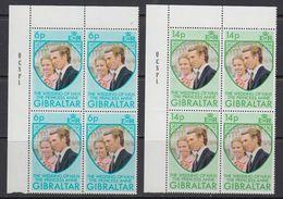 Gibraltar 1973 Wedding Princess Anne 2v Bl Of 4 (corner) ** Mnh (41504D) - Gibraltar