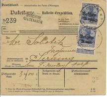 Pakketkaart Met Nr 18 (in Verticaal Paar) En Verso 14 Van JODOIGNE GELDENAKEN Nar Seraing - Guerre 14-18