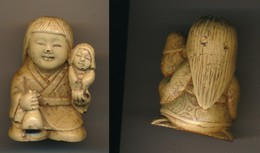 Japon - Ancien NETSUKE Femme Avec Enfant - Art Asiatique
