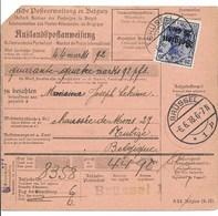 Postwissel Met Nr 18 En 2 (horizontaal Paar) Van 6.6.18 Van Brussel 1 Naar Tubize-Tweebeek - Guerre 14-18