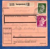 Colis Postal  -   Départ Saargemünd 1  --  Pour  Seingbouse  --  07/6/43 - Allemagne