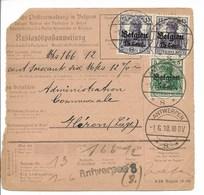 Postwissel Met Nr 15 (horiz. Paar) En 12 En Verso 14 Van 1.6.16 Van Antwerpen 8 Naaar Fleron - Guerre 14-18