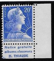 France N°1011B - Pub Thiaude - Neuf ** Sans Charnière - TB - Publicités