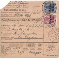 Postwissel Met Nr 14 En 18 En Verso 3 Van 26.6.18 Van Charleroi Naar La Croyère - Guerre 14-18