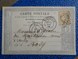 CARTE POSTALE AVEC TIMBRE N° 55 + 3 TAMPONS - 1871-1875 Ceres