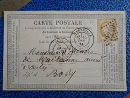 CARTE POSTALE AVEC TIMBRE N° 55 + 3 TAMPONS - 1871-1875 Cérès