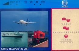 Indonesia Tamura Cards, Plane, World Infrastructure Forum Asia 1994, 140u (1pcs) - Indonesia