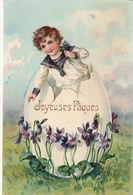 Jolie Carte Postale Ancienne Fantaisie Illustrée - Joyeuses Pâques - Oeufs - Enfant - Violettes - Pâques
