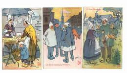 """""""ces Bons Normands"""" 3 Cpa Signées GALRY   état Ttb Sauf  1 Pli Voir Scan Central. - Illustrators & Photographers"""