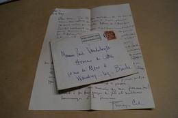 Ancien Courrier Envoyé A L'homme De Lettre Vanderborght 1948 ,signé De Frenay-Cid, Herman,original,collection - Manoscritti