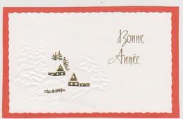 816 - CARTE BONNE ANNEE GAUFFREE . MAISONS DANS PAYSAGE ENNEIGE - Nouvel An