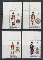 Gibraltar 1976 Uniforms 4v (corners) ** Mnh (41505J) - Gibraltar