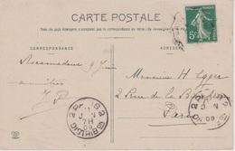 KRAG 2 PARIS 2 / DISTRIBON Lettres Larges Bd Seul En Arrivée 11/6/1909 - Postmark Collection (Covers)