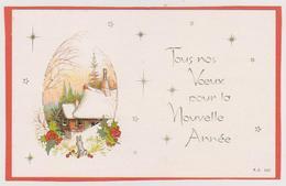 816 - CARTE TOUS NOS VOEUX POUR LA NOUVELLE ANNEE . LAPIN HOUE ETOILES MAISONSPAYSAGE ENNEIGE - Nouvel An
