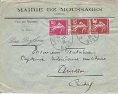 5c Rose N° 278B + 30c 30c Rouge N° 360 En Paire Tarif 60c CHANTILLY 11 11 1938 Pour Aurillac - 1906-38 Sower - Cameo