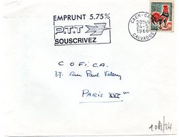 CALVADOS - Dépt N° 14 = CAEN GARE 1966 =  FLAMME Non Codée = SECAP  ' EMPRUNT PTT 5.75 % / SOUSCRIVEZ ' - Postmark Collection (Covers)