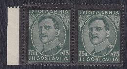 Kingdom Of Yugoslavia 1934 King Aleksandar, Error - Double Perforation, MNH (**) Michel 287 - Imperforates, Proofs & Errors