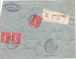 50c Rouge Paire + 1 Ex Recommandé Tarif 1.50F CHAUSSIN JURA 6 10 1927 Pour Navilly - 1903-60 Sower - Ligned