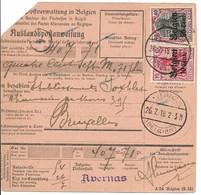 Postwissel Met Nr 14 En 20 En Verso 14 Van 16.6.18 Van Avernas Naar Curegem - Guerre 14-18
