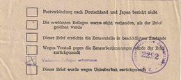 """Zensur NACHKRIEGSZENSUR ÔSTERREICH SOWJET ZONE  """"EINLAGE ZETTEL"""" !!! Stempel (Wolter 10) """"Verbotene Beilagen Entnommen"""" - Allemagne"""