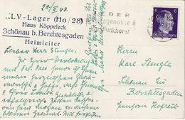 """2. Weltkrieg / WO 2  AK """"BERCHTESGADEN 21.2.43"""" + Violet """" KLV - Lager (Ho / 28) Haus Köppeleck / SCHÖNAU  / Heimleiter - Allemagne"""