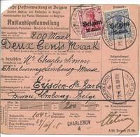 Postwissel Met Nr 14 En 18 En Verso 12 Van 19.6.18 Van Charleroi Naar Eisden - Guerre 14-18