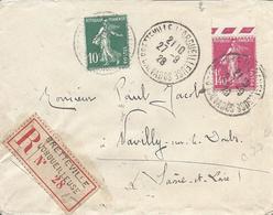 1.40F Rose N° 196 (cote 77€ Sur Lettre) + 10c Vert N° 159 Tarif 1.50F Recommandé BRETTEVILLE L'ORGUEILLEUSE 27 9 1929 - 1906-38 Semeuse Camée