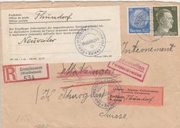 Allemagne Lettre Recommandée Grenzhausen Censurée Pour Le Camp Matzingen En Suisse 1942 - Deutschland