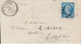 N° 14( Type 2, Margé)/ L.(.) GC 3793 De ST- PATERNE   /28.12.62->Tours   (Pothion Indice 8) - Marcophilie (Lettres)