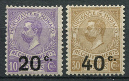Monaco 1919 Mi. 11-12 Neuf ** 100% Timbre-taxe - Taxe