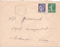 35c Vert N°361 + 55c Violet Type Paix Tarif 90c VIAM CORREZE 26 12 1936 Pour MADRANGES - 1906-38 Semeuse Camée