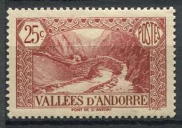 Andorre Français 1937 Mi. 56 Neuf * 80% 25C, Paysages - Andorre Français