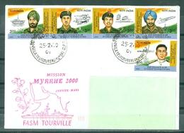 MARCOPHILIE - FASM TOURVILLE MISSION MYRRHE 2000 JANVIER - MARS Escale En INDE Avec Timbres Locaux - Naval Post