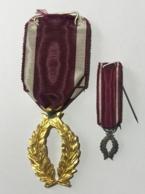 Décoration Palmes D'Or De L'Ordre De La Couronne. Médaille + Médaille Réduction - Royaux / De Noblesse