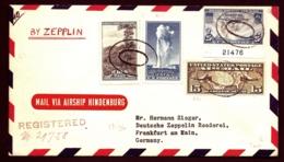 POSTE AÉRIENNE PAR ZEPPELIN HINDENBURG 1936-  3eme VOYAGE RETOUR AMERIQUE NORD- USA-  23-6-36- 2 SCANS - Airmail