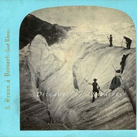 Suisse Valais Gletsch * Glacier Du Rhône * Photo Stéréoscopique Braun Vers 1865 - Photos Stéréoscopiques