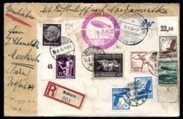 POSTE AÉRIENNE PAR ZEPPELIN HINDENBURG 1936-  7 EME VOYAGE ALLER AMERIQUE NORD- 15-8-36- 2 SCANS - Posta Aerea
