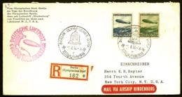 POSTE AÉRIENNE PAR ZEPPELIN HINDENBURG 1936- 6eme VOYAGE ALLER AMERIQUE NORD + J.O.- 1-8-36- 2 SCANS - Airmail