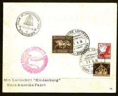 POSTE AÉRIENNE PAR ZEPPELIN HINDENBURG 1936- 6° VOYAGE RETOUR AMERIQUE NORD PAR BERLIN- 11-8-36- 2 SCANS - Airmail