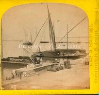Suisse Genève - Barque Du Léman Au Port En 1865 - Photo Stéréoscopique W England - Voir Scans - Photos Stéréoscopiques