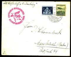 POSTE AÉRIENNE PAR ZEPPELIN HINDENBURG 1936- 1 VOYAGE INTERIEUR POUR LES J.O. DE BERLIN- 1-8-36- 2 SCANS - Luchtpost