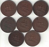 South Africa Collection Of 8 King George V Penny Coins 1927-1936 All Listed & Different - South Africa