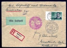 POSTE AÉRIENNE PAR ZEPPELIN HINDENBURG 1936- 8° VOYAGE ALLER AMERIQUE NORD- 17-9-36- 2 SCANS - Luftpost