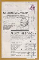 Vichy.Cream.Pharmacy.Neuroses And Fructines.Postal Circulated Leiria 1947.Stamp Trage Caramulo,Serra Estrela.2sc - Parfums & Beauté