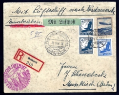 POSTE AÉRIENNE PAR ZEPPELIN HINDENBURG 1936- 9° VOYAGE ALLER AMERIQUE NORD- 26-9-36- 2 SCANS - Luftpost