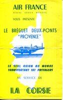 """PUB AIR FRANCE.BREGUET DEUX PONT """" PROVENCE """" AU SERVICE DE LA CORSE. - Old Paper"""