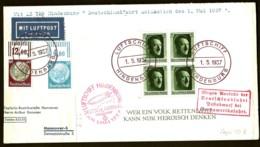 POSTE AÉRIENNE PAR ZEPPELIN HINDENBURG 1937- VOYAGE EN ALLEMAGNE ANNULÉ LE 1-5-37 + DOC- 3 SCANS - Poste Aérienne